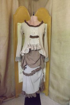 SALE *!* Upcycled Lagenlook Maxi Skirt Steampunk Victorian Inspired Hand Dyed Cotton With Pockets & Ruffles Size S  love top and 1st layer