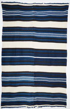 rio grande blanket w/indigo Indian Blankets, Navajo Rugs, Striped Rug, Indigo Dye, Kilims, Color Shapes, Rio Grande, Woven Rug, 19th Century