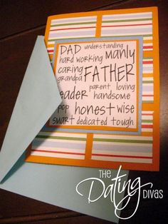 Father's Day card, made from scratch with scrapbook paper. Can be a birthday/ all occasion card too, and the sentiment on the front could be hand written or stamped instead of printed. Good directions, but no specific dimensions.