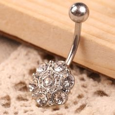 2017 Fashion 1.1cm Flower Pendant Woman Belly Button Ring Body Jewelry White Crystal Beads for Party Appointment Gift //Price: $7.95 & FREE Shipping // #jewelry #jewels #jewel