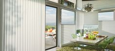 Hunter Douglas Vignette Modern Roman Shades feature consistent folds and no exposed rear cords. Choose from different fold styles and sizes, and a horizontal or vertical orientation.