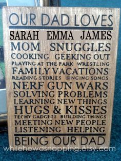 Our Dad Loves... Plaque - with tutorial