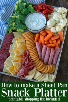 How to make a Sheet Pan Snack Platter for a hungry crowdYou can find Snacks for party and more on our website.How to make a Sheet Pan Snack Platter for a hungry crowd Snacks Für Party, Appetizers For Party, Crowd Appetizers, Finger Foods For Parties, Summer Party Foods, Pool Snacks, Kid Friendly Appetizers, Shower Appetizers, Birthday Party Snacks