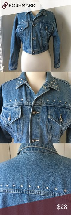 "ADORABLE DEMIN BLING STUDDED JACKET, ADORABLE CROP DENIM BLING JACKET.  20"" Flat Measurement From Underarm to Underarm.  16"" From Shoulder to Hemline.  22 Sleeve.   Signature L.A. Gear Logo on Sleeve.  SUPER SUPER CUTE!! L.A. Gear Jackets & Coats Jean Jackets"