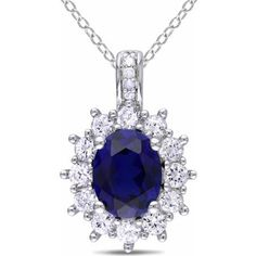 """4 Carat T.G.W. Created Blue and White Sapphire and Diamond-Accent Sterling Silver Flower Pendant, 18"""" $49"""