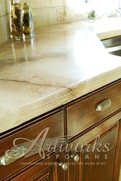 Custom Decorative Concrete Overlay Over Ceramic Tile
