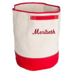 Personalized Red Trimmed Storage Bucket