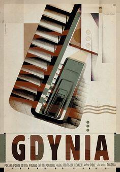 GDYNIA kolejny plakat z serii Plakat-Polska . Wymyśliłem sobie ze plakaty z tej serii będą nie tylko moim przewodnikiem po kraju , nie tylko bedekerem mych wspomnień ale będą tez , odpowiednio ułożone , almanachem estetyk w jakich powstawał polski plakat . Stąd w przypadku śródmieścia Gdyni, która de facto powstała w bardzo krótkim okresie dekady lat 30-tych w duchu awangardy modernistycznej moje na plakacie nawiązanie do estetyki z tego czasu , bardzo zresztą przeze nie cenionej i lubianej…