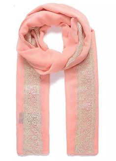 Classy Coral Peach Plain Vintage Lace Trimmed Pashmina Scarf Wrap SS17  #Intrigue #Scarf