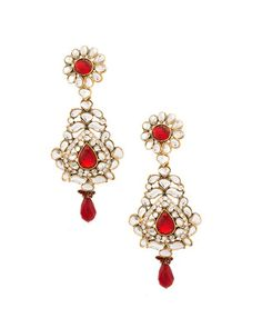Stunning Floral Gold Plated Kundan Earrings   Rs. 910   http://voylla.com