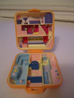 Vintage Polly Pocket Bluebird Townhouse Orange Compact Only Modern Condo House  #HousesFurniture