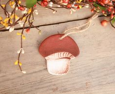 Bolete salt dough  hanging ornaments, Tree decorations, Hanging mushroom, Christmas hanging decorations, Bolete auumn forest decorations by BRsaltycandy on Etsy