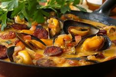 Mussels With Chorizo , Tomato and Wine