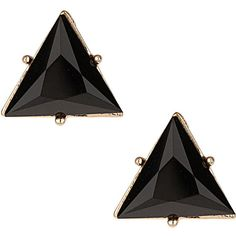 Black Triangle Stud Earrings ($3.50) ❤ liked on Polyvore featuring jewelry, earrings, accessories, fillers, bijoux, black, earring jewelry, triangular earrings, triangle stud earrings and triangle earrings