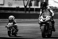 """Like father like son. """"Get it, boy!"""" A mini racemotorcycle. <3  This was actually my first bike as well...so it should say...""""Get, it girl!"""" ;)"""