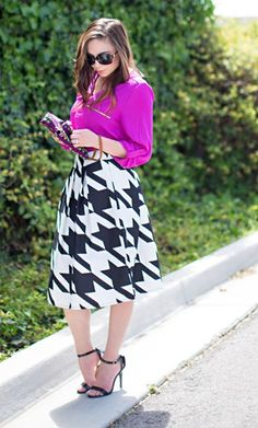 Betsy knit houndstooth mid length skirt