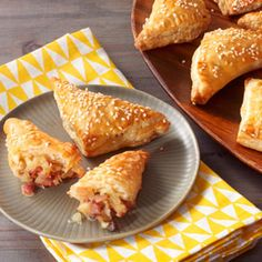 Prepared puff pastry dough makes it easy to prepare these scrumptious ham and cheese pastry pockets that are sure to be the hit of your next party.