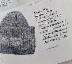 "Ruusu-unelmia ja villasukkia: DIY - Neulottu beanie-pipo, ""mummopipo"" Diy Clothes Accessories, Knitting Accessories, Knitting Charts, Knitting Patterns, Knit Crochet, Crochet Hats, Hat And Scarf Sets, Drops Design, Kids Hats"