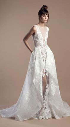 f538e3a1652 Off white sheer fitted dress in lace and embroidered tulle