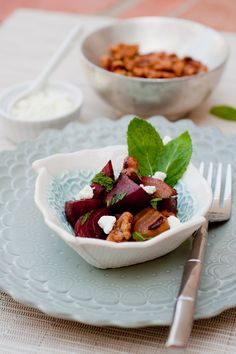 Roasted Beet Salad with Balsamic, Fresh Mint & Goat Cheese