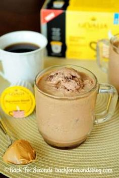 Frozen Peanut Butter Mocha's - INCREDIBLE!  http://backforseconds.com  #recipe #frappuccino #peanutbutter #chocolate