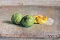 Lennart Anderson, Still life with green apples and roll, 10 x 14 5/8
