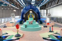 On the occasion of the Centre Pompidou anniversary celebrations, Paris-based Studio GGSV, has been invited to imagine an unprecedented event for the Galerie des enfants. Renzo Piano, Pompidou Paris, Kids Cafe, Van Design, July 10, Cafe Chairs, Environmental Design, Retail Shop, Kid Spaces