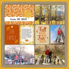 Fall Days Are The Fun Days...traditional layout using pocket cards. #scrapbooklayouts