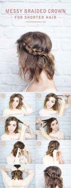 5 Tutoriales de Peinados Fáciles para cabello corto a los hombros   peinados hair styles     peinados     peinados faciles     http://caroortiz.com