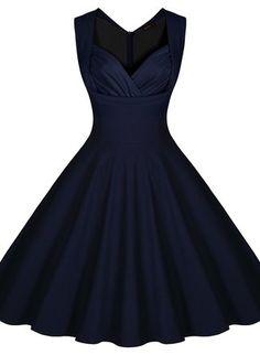 Miusol Damen Aermellos Sommerkleid 1950er Retro Cocktailkleid Petticoat Faltenrock Kleid Dunkelblau Groesse L