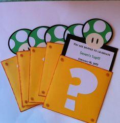 Super Mario Bros invitations I wish i could buy them replication will be though Super Mario Party, Super Mario Bros, Super Mario Birthday, Mario Birthday Party, 6th Birthday Parties, Birthday Ideas, 8th Birthday, Nintendo Party, Mario Y Luigi