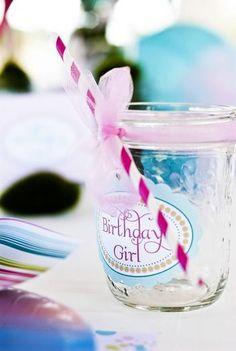 birthday girl mason jar glass