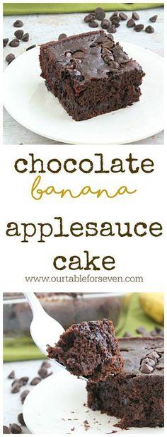 Chocolate Banana Applesauce Cake • Table for Seven