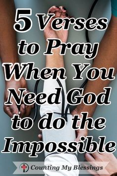 The Bible says . Nothing is impossible for God. These 5 prayers will help you pray when you need Him to do what only He can do in your impossible circumstances. Prayer Scriptures, Bible Prayers, Faith Prayer, God Prayer, Power Of Prayer, Prayer Quotes, Faith In God, Faith Quotes, Bible Quotes
