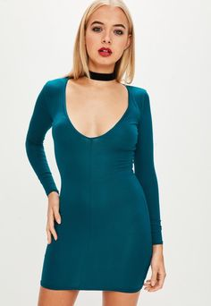 ab2fbaf0 Model height: regular fit- long sleeves and bodycon. this teal mini dress  have a v neck and long sleeves.