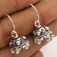 925 Sterling Silver Jewelry Ethnic Style Jhumki Earrings PLAIN No Stone Exporter #Unbranded #DropDangle