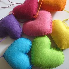 hanging rainbow hearts