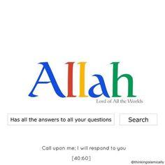 "*ALLAH* *Has all the answers* *to your questions.* ""**Call Upon me; Muslim Love Quotes, Love In Islam, Allah Love, Beautiful Islamic Quotes, Islam Hadith, Allah Islam, Islam Quran, Alhamdulillah, Quran Surah"
