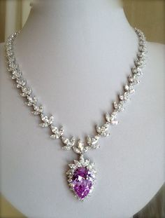 diamond and purple necklace (view 1)