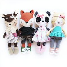 Working on one last bear as we speak, and then this week is finished! Working on one last bear as we speak, and then this week is finished! Animal Sewing Patterns, Doll Patterns, Fox Toys, Handmade Soft Toys, Fabric Toys, Creation Couture, Sewing Dolls, Soft Dolls, Diy Doll