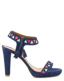 Punky b. pour Minelli., sandales bleues à talons motif aztèque