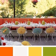 Orange, White, Yellow, Apple Green Color Palette
