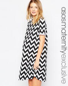 ASOS+Maternity+Mono+Chevron+Shift+Dress