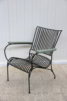 Iron Chair with Timber Armrest – Aziza Designs Vintage & Antique Indian Furniture and Homewares