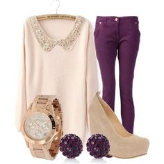 Purple and Beige Winter Outfit.