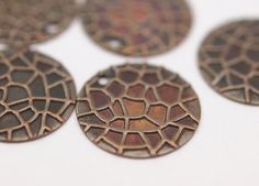 20 Copper Brass Round Charms 16 Mm K049 by yakutum on Etsy