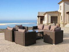 Romantische Garten-Eckgarnitur mit Sonnenschutz in Rattan-Style ...