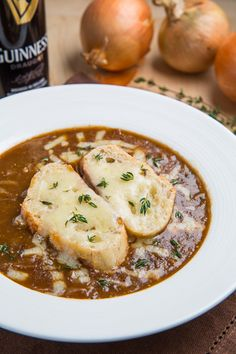 Guinness French Onion Soup. #recipes #foodporn #soups