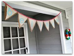 Believe banner with: burlap, drop cloth, paint, and ribbon.
