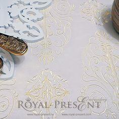 Machine Embroidery Design Beige vintage ornate border